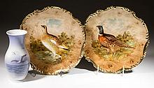 DANISH COPENHAGEN, MUNICH PORCELAIN PLAQUES AND VASE, LOT OF THREE