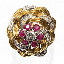 VINTAGE LADY'S 14K GOLD, DIAMOND, AND RUBY COCKTAIL RING