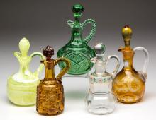 ASSORTED PRESSED AND BLOWN CRUETS, LOT OF FIVE