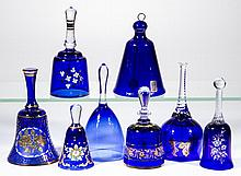 ASSORTED BLUE GLASS BELLS, LOT OF EIGHT