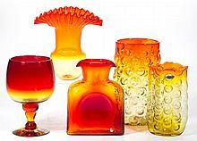 ASSORTED BLENKO TANGERINE GLASS ARTICLES, LOT OF FIVE
