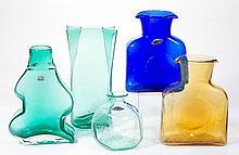ASSORTED BLENKO GLASS VASES, LOT OF FIVE