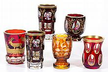 ASSORTED BOHEMIAN CUT-OVERLAY GLASS TUMBLERS, LOT OF SIX