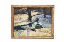 ROBERT WHITMORE (AMERICAN/OHIO 1890-), OIL ON CANVAS, LANDSCAPE. 16 X 20
