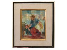 AMERICAN SCHOOL (20TH CENTURY), OIL ON CANVAS, WOMAN AND CHILD, SIGNED WILSON. 12 X 9