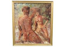 AMERICAN SCHOOL (20TH CENTURY), OIL ON CANVAS BOARD, NUDE STUDY, SIGNED ILLEGIBLY 1968. 27 X 24
