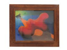 MID-CENTURY ABSTRACT PASTEL IN A WORMY CHESTNUT HEYDENRYK STYLE FRAME. SIGHT 17 1/2 X 23 1/2; FRAMED AND GLAZED 24 1/2 X 31 3/4