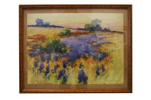 AMERICAN SCHOOL (20TH CENTURY) WATERCOLOR, LANDSCAPE WITH WILD FLOWERS, SIGNED ARTHUR WESLEY DOW. SHEET 13 5/8 X 18