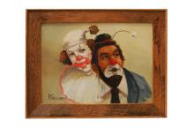 EARL BLOOMS (AMERICAN 1891-1970), OIL ON CANVAS, PAIR OF CLOWNS, SIGNED. 11 X 15
