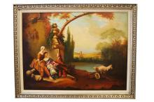 AMERICAN SCHOOL (20TH CENTURY), OIL ON CANVAS, CLASSICAL LANDSCAPE WITH FIGURES, SIGNED HEILER STUDIO. 30 X 40
