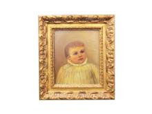 AMERICAN SCHOOL (19TH CENTURY), OIL ON CANVAS BOARD, PORTRAIT OF A CHILD, UNSIGNED. FRAMED 16 X 14