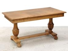 RENAISSANCE REVIVAL CARVED MAPLE LIBRARY TABLE