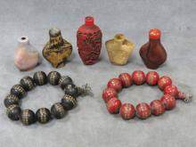 LOT (7) CHINESE INCLUDING (5) SNUFF BOTTLES