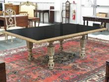 CUSTOM MADE VENETIAN STYLE GLASS TOP DINING TABLE