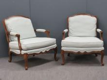 PAIR HERITAGE FRENCH STYLE FRUITWOOD FAUTEUIL