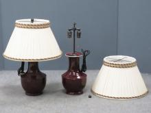 PAIR CHINESE OXBLOOD VASES WITH LAMP INSERTS