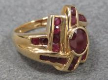 14K YELLOW GOLD AND RUBY RING
