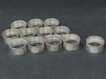 SET (12) WALLACE STERLING NAPKIN RINGS