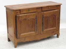 FRENCH PROVINCIAL CARVED FRUITWOOD SIDE BOARD