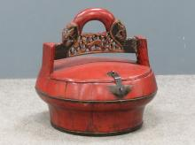 CHINESE CARVED/PAINTED WOOD COVERED CONTAINERS