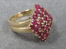 10K YELLOW GOLD & RUBY COCKTAIL RING
