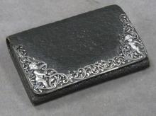 GORHAM VICTORIAN BLACK LEATHER AND STERLING PURSE