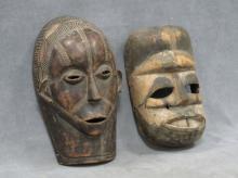 LOT (2) AFRICAN CARVED MASKS INCLUDING OGONI