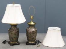 PAIR DESIGNER HAND DECORATED CERAMIC TABLE LAMPS