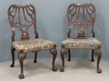 PAIR GEORGE III STYLE CARVED MAHOGANY SIDE CHAIRS