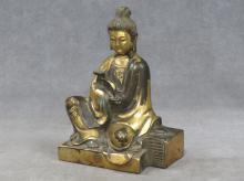 CHINESE PARCEL GILT BUDDHA. HEIGHT 6 3/4