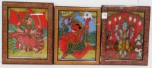 LOT (3) INDIAN HAND PAINTED EGLOMISE PANELS, 19/20TH CENTURY. FRAMED 10 1/2 X 8 1/2