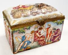 CAPO DI MONTE PORCELAIN COVERED JEWELRY CASKET WITH ORMOLU MOUNTS, 19TH CENTURY. HEIGHT 6 3/4
