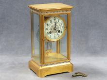 FRENCH GILT BRONZE AND ENAMEL CRYSTAL REGULATOR SHELF CLOCK, JAPY FRES MOVEMENT. HEIGHT 10 1/4