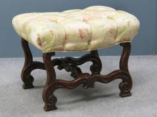 FRENCH ART NOUVEAU CARVED FOOT STOOL WITH SCALAMANDRE SILK UPHOLSTERY. HEIGHT 18