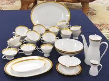 LARGE LOT ROSENTHAL (GERMANY) FINE CHINA SERVICE WITH GOLD ENCRUSTED EDGE