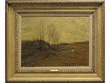 JOHN FRANCIS MURPHY (AMERICAN 1853-1921) OIL ON CANVAS, AUTUMN LANDSCAPE, SIGNED AND DATED 1920 WITH ARTIST STAMP VERSO. 16 X 22