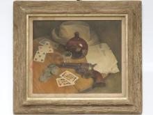 FLAVIA BENSING SCOTT (AMERICAN 1919-2011), OIL ON CANVAS, GAMBLER'S HAND, SIGNED. 13 X 16