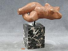 ANTONIUCCI VOLTI (FRENCH 1915-1989), TERRACOTTA, RECLINING NUDE, SIGNED VOLTI, WITH MARBLE PLINTH. HEIGHT 9 1/2