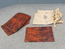 SET (9) COSTA RICA ROSEWOOD PLACEMATS, SIGNED TIFFANY MOORE. 11 1/2 X 16 1/2