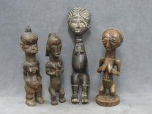 LOT (4) AFRICAN CARVED FIGURES INCLUDING LUBA, TABWA AND KUSU. HEIGHT 12-16 1/2