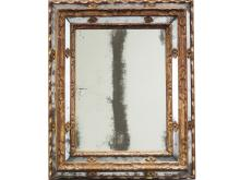 FINE ITALIAN CARVED AND GILT FRAMED MIRROR, 17TH CENTURY (POSSIBLY SIENA). 33 X 27 1/2