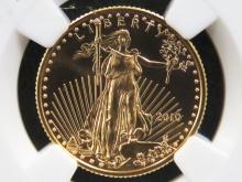 2010 AMERICAN BUFFALO EARLY RELEASE $10.00 GOLD COIN. 1/4 OZ (MS-70)