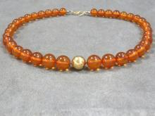 AMBER AND GOLD (TESTS 14K) GRADUATED BEADED NECKLACE, 9.5-15.33 MM. LENGTH 18