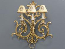 FRENCH STYLE GILT WROUGHT IRON 3-ARM SCONCE. HEIGHT 26
