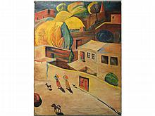 MARTIROS SARYAN (ARMENIAN/RUSSIAN 1880-1972), OIL ON CANVAS, YEREVAN STREET SCENE, SIGNED AND TITLED 1925, INSCRIBED VERSO