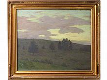 CHARLES WARREN EATON (AMERICAN 1857-1937) OIL ON CANVAS, LANDSCAPE AT TWILIGHT, SIGNED (LR) AND VERSO IN PENCIL. 20 X 24