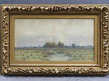 GEORGE HOWELL GAY (AMERICAN 1858-1931) WATERCOLOR, WETLAND'S LANDSCAPE, SIGNED. SIGHT 13 1/2 X 26 1/2