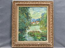 ATTRIBUTED TO ALEXANDER ALTMANN (RUSSIAN FEDERATION 1878-1932), OIL ON CANVAS, SUMMER LANDSCAPE WITH VILLAGE, SIGNED. 27 1/2 X 25 1/2