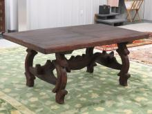 SOUTHWEST STYLE MESQUITE IRON MOUNTED DOOR DINING TABLE/EXECUTIVE DESK. HEIGHT 31