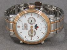 NICOLET STAINLESS, 21-JEWEL AUTOMATIC MOONPHASE CALENDAR WRISTWATCH WITH 7 3/4